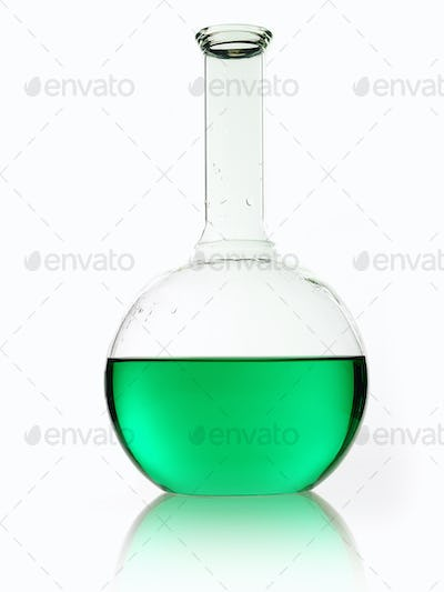 A rounded glass scientific chemical flask with a long funnel neck, holding green liquid.