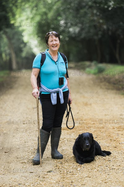 Female hiker with her dog.