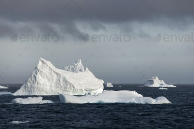Icebergs on the waters of the Southern Ocean.