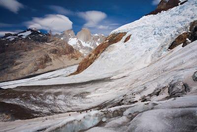 Climbers on a glacier in Los Glaciares National Park, Argentina