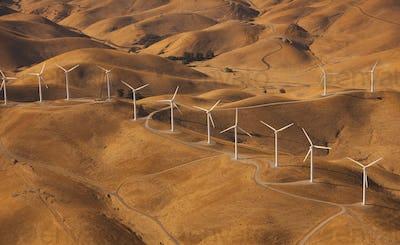 Wind generators in the landscape of the Altamira Pass, California