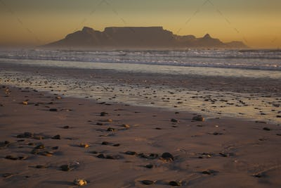 Table Mountain and the outline of Devil's Peak and Lion's Head in South Africa