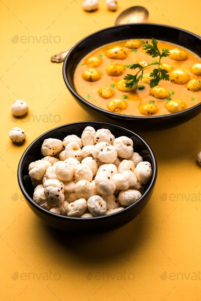 Lotus Seeds Peas Curry or Phool Makhana Masala Sabzi