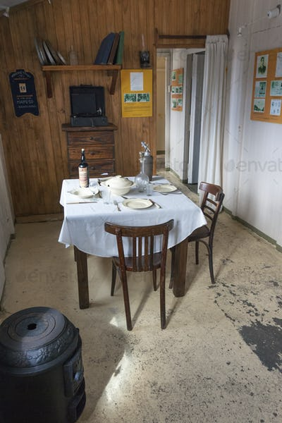 Scientific research station interior at Camp Livingston on the South Shetlands Islands