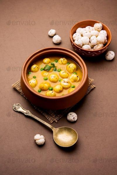 Lotus Seeds Peas Curry or Phool Makhana Masala Sabzi