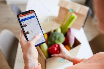 Woman ordering food online