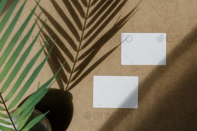 Top view of two blank paper sheet cards on a kraft background
