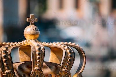 Stockholm, Sweden. Skeppsholmsbron - Skeppsholm Bridge With Its Famous Golden Crown In Stockholm