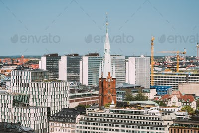 Stockholm, Sweden. Elevated View Of St. Clara Or Saint Klara Church In Summer Sunny Modern Cityscape
