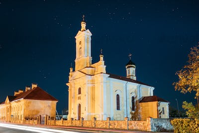 Ruzhany, Brest Region, Belarus. Starry Sky Above St Peter and Paul Orthodox Church In Autumn Night