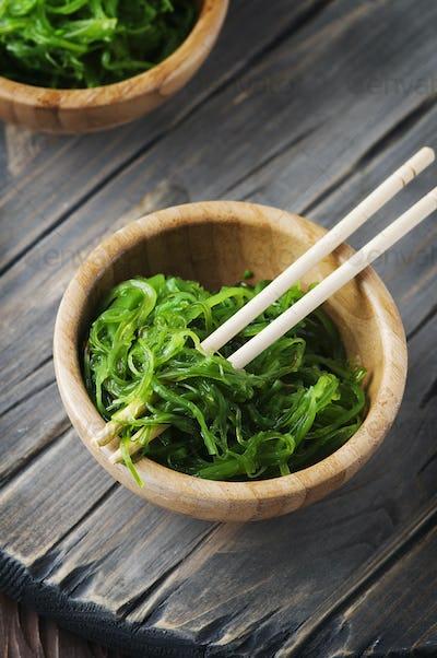 Japanese salad chuka on the wooden table