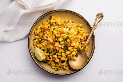 Sweet Corn Chat or Chaat is a popular Indian Roadside healthy snack