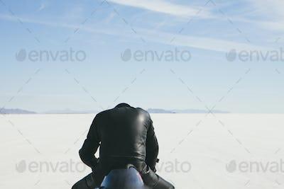 Motorbiker on salt flats