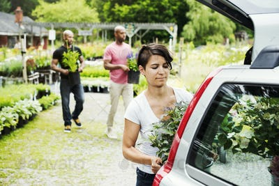 Car parked at a garden centre, a woman loading flowers into the boot.