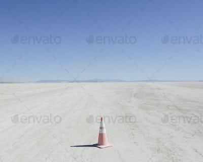 Traffic cone in vast desert, Black Rock Desert, Nevada