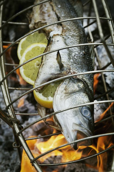 Fish in a fish grill basket over a barbecue.