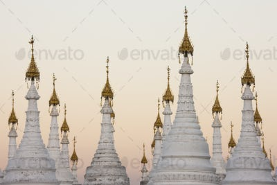 White stupas at Kuthodaw Pagoda, Mandalay, Myanmar