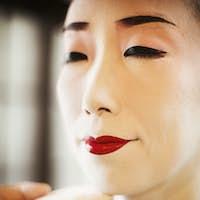 White face geisha makeup