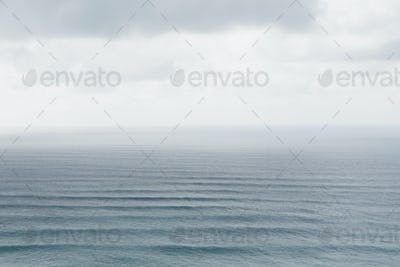 Elevated view of Pacific Ocean and waves