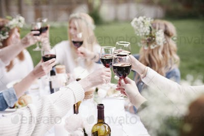 Group of female friends gathered around a table, toasting with red wine.