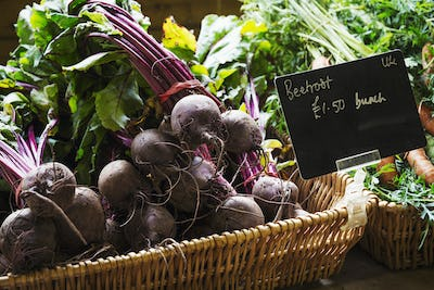 Organic beetroot being sold in a farm shop.