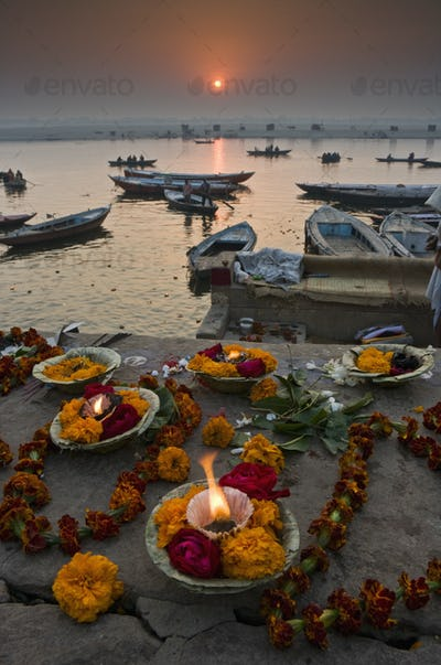 Kumbh Mela festival in Varanasi, offerings to the gods