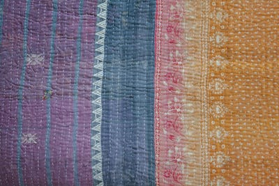 Close up of a fabric bedspread or throw