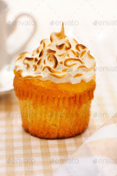 Cupcake with whipped cream