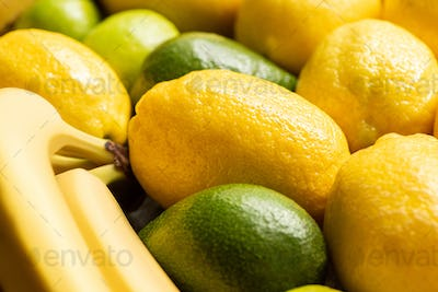 Close up View of Colorful Yellow And Green Delicious Summer Fruits