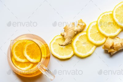 Top View of Hot Tea With Lemon And Ginger on White Background