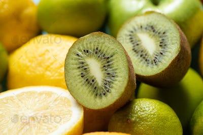Close up View of Kiwi Halves on Lemons And Limes