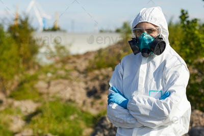 Woman working in dangerous area