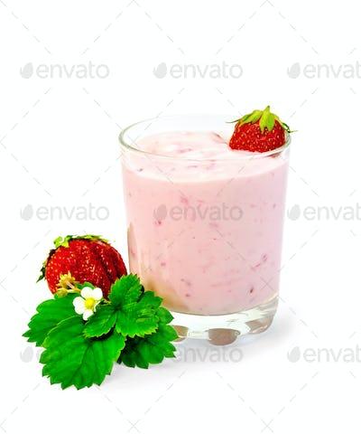 Milkshake with strawberry and leaf