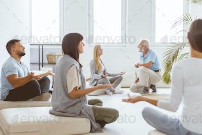 Meditating during session