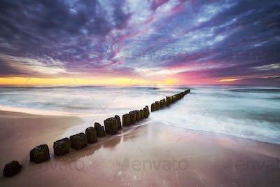 Baltic Sea coast in Mrzezyno at a beautiful sunset, Poland.