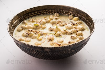 Sweet Roasted Makhana Kheer is an Indian dessert recipe, served in a bowl garnished with dry fruits