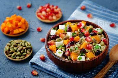 Pumpkin pomegranate dried cranberry goat cheese quinoa salad