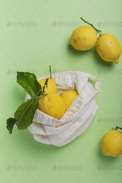 biological lemons with green leave