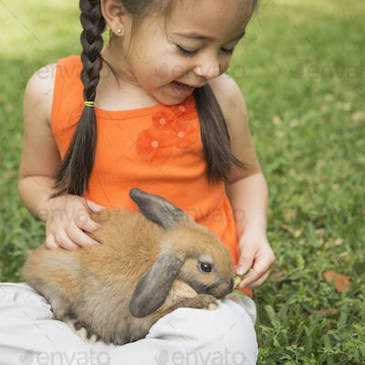 A child with a brown rabbit on her lap.