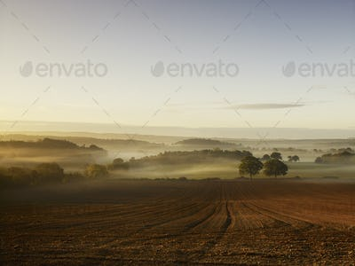 A ploughed field and view over surrounding undulating hills, at dawn with a mist rising.