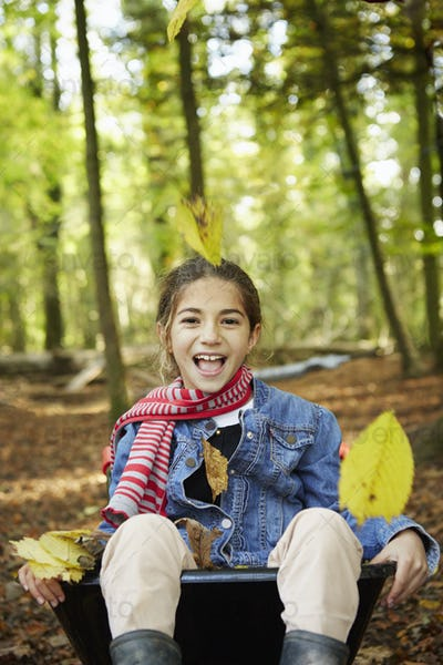 Beech woods in Autumn. A girl sitting in a wheelbarrow laughing