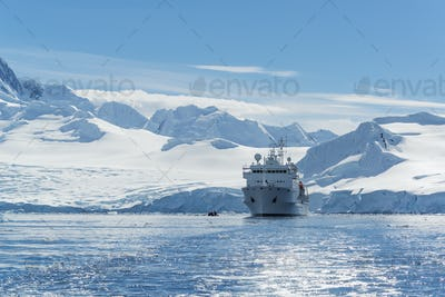 View of a polar research vessel, in the Antarctic.