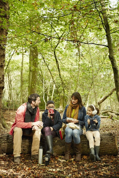 Beech woods in Autumn. Parents and two children sitting on a log having a picnic.
