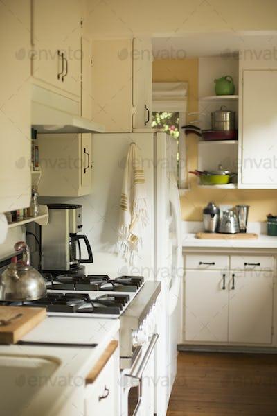 Interior view of a domestic kitchen.