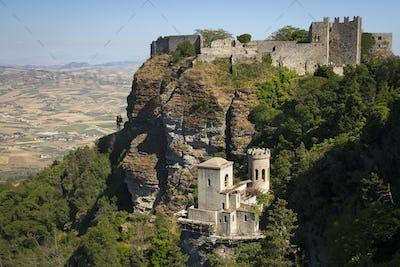 Medieval castle on the hillside in Erice.