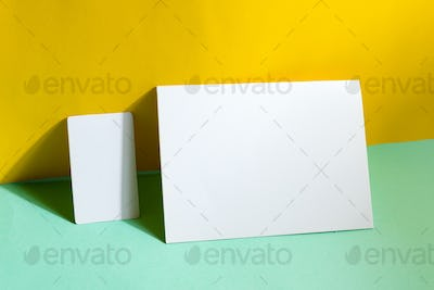 Blank stationery set business cards and brochure on duotone background with shadows