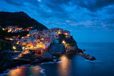 Manarola village n the night, Cinque Terre, Liguria, Italy