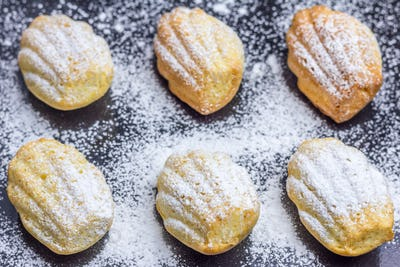 Sugar powdered madeleines on baking tray