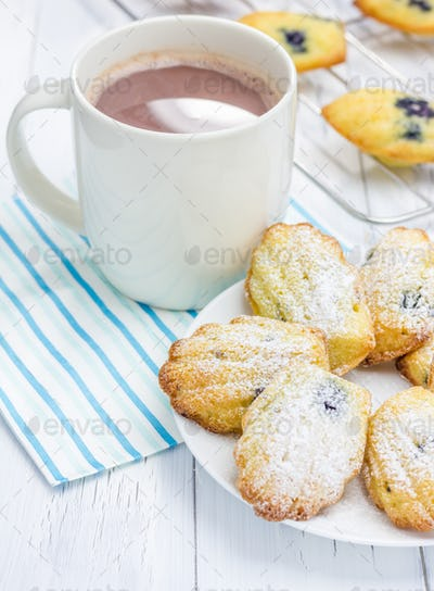 Sugar powdered madeleines with blueberries and hot chocolate