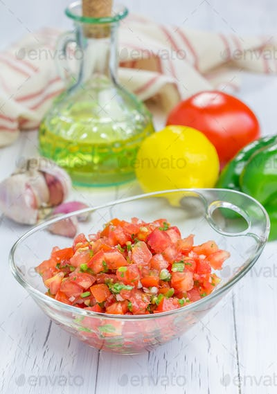 Bowl of fresh homemade salsa